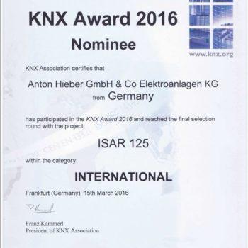 ELEKTRO HIEBER ist für KNX Award 2016 nominiert